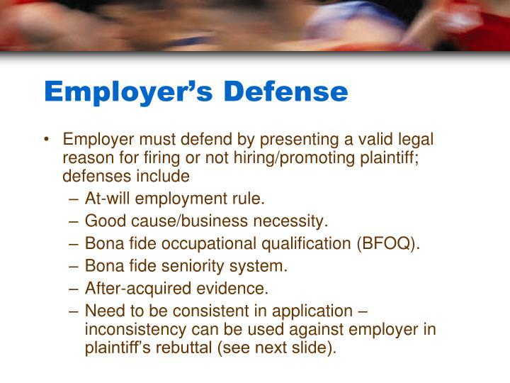 Employer's Defense
