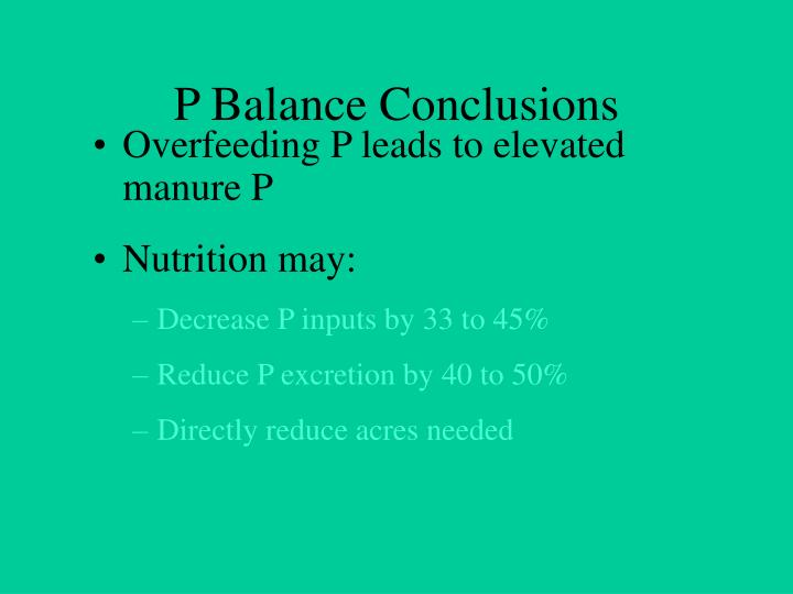 P Balance Conclusions
