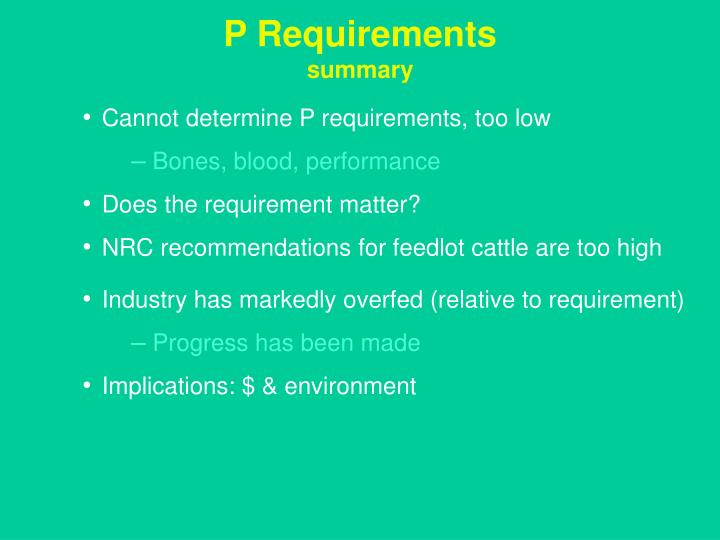 P Requirements