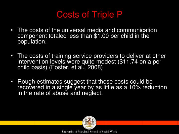 Costs of Triple P