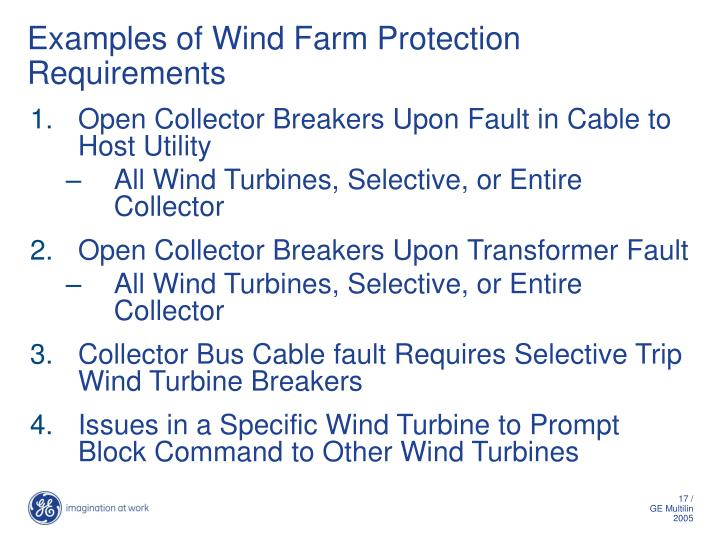 Examples of Wind Farm Protection Requirements