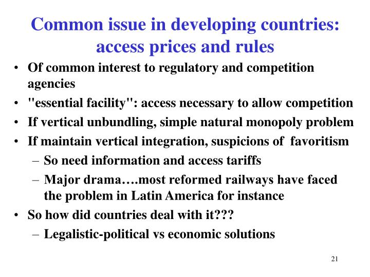 Of common interest to regulatory and competition agencies