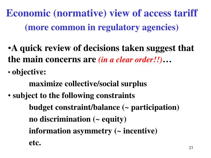 Economic (normative) view of access tariff