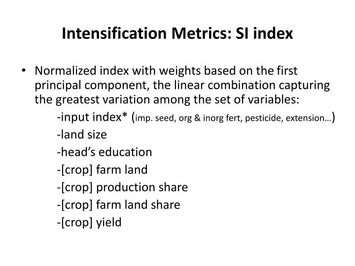 Intensification Metrics: