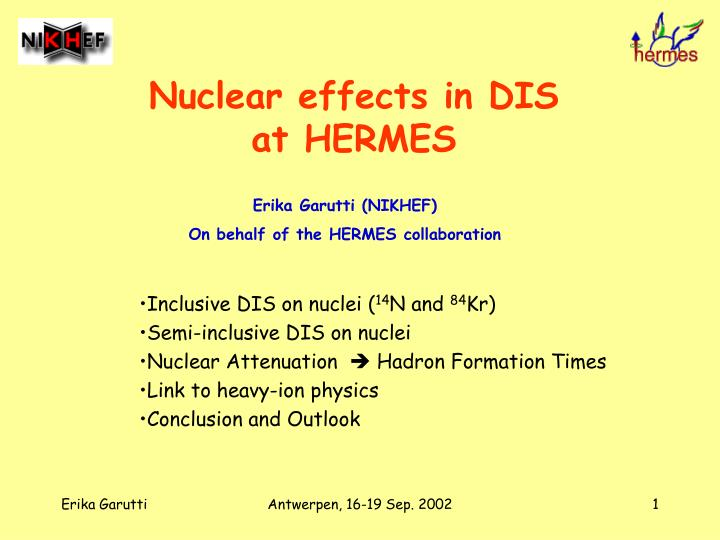 nuclear effects in dis at hermes n.