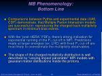 mb phenomenology bottom line