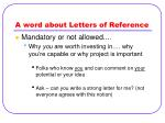 a word about letters of reference