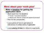 more about your work plan