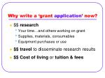 why write a grant application now