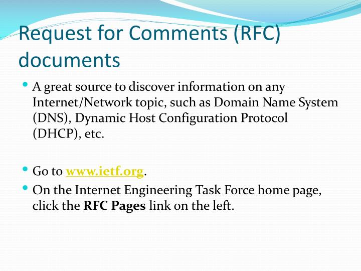 Request for comments rfc documents