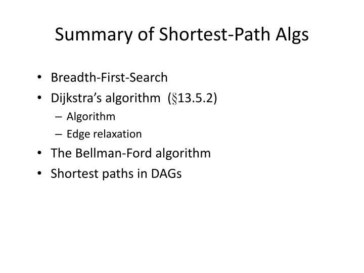 Summary of Shortest-Path Algs