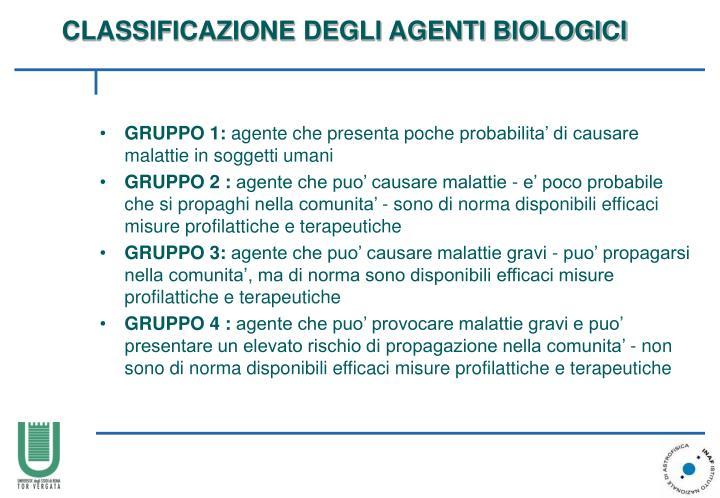 Classificazione degli agenti b iologici
