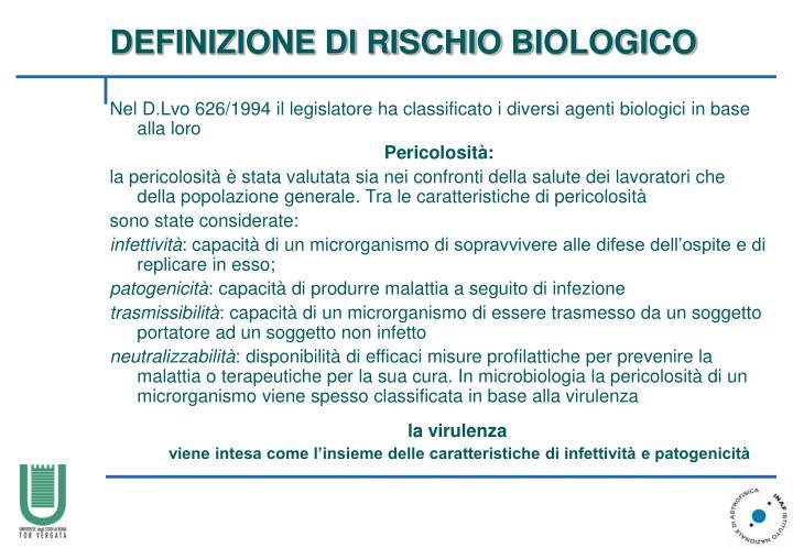 Definizione di rischio b iologico