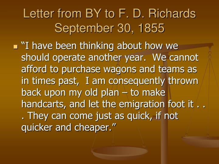 Letter from BY to F. D. Richards