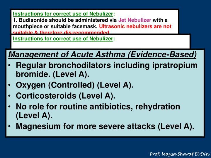 Instructions for correct use of Nebulizer