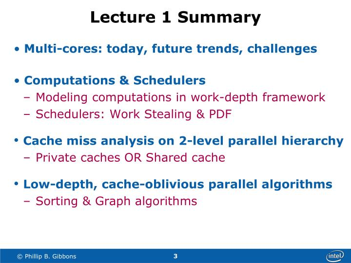 Lecture 1 summary