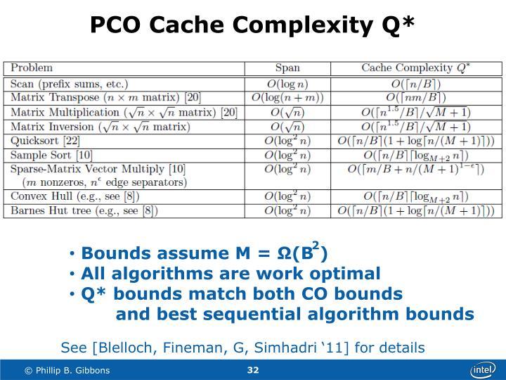 PCO Cache Complexity Q*