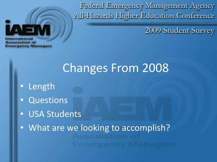 Changes from 2008