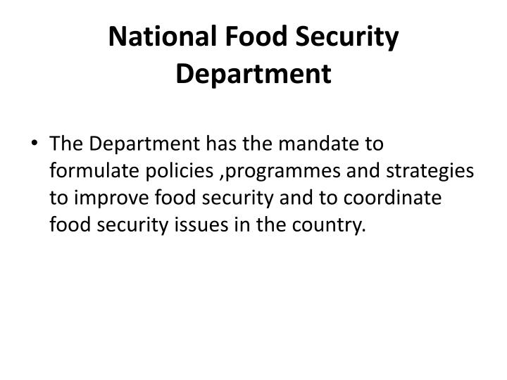 National food security department