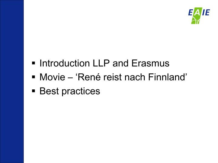 Introduction LLP and Erasmus