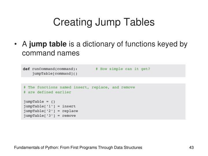 Creating Jump Tables
