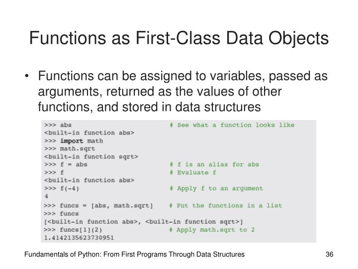 Functions as First-Class Data Objects