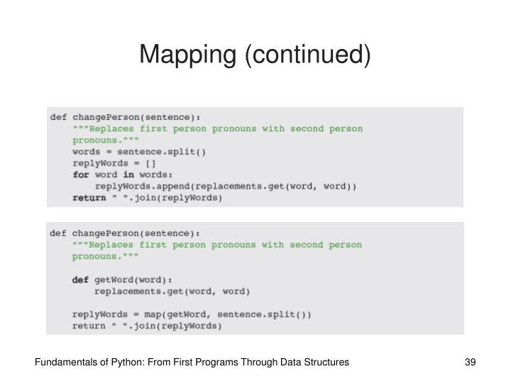 Mapping (continued)