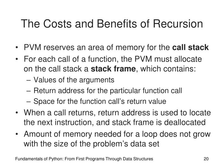 The Costs and Benefits of Recursion