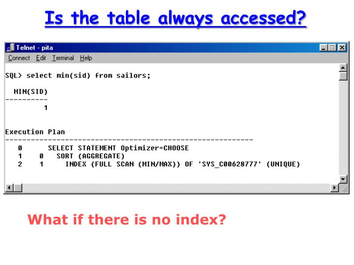 Is the table always accessed?