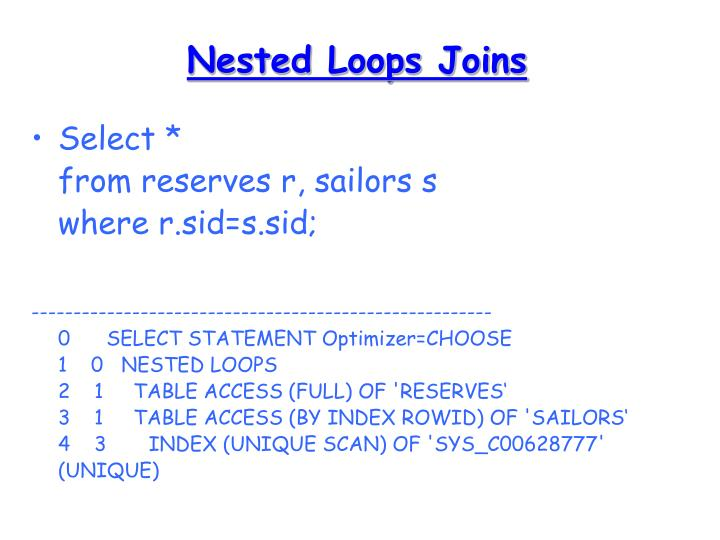 Nested Loops Joins