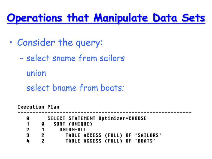Operations that Manipulate Data Sets