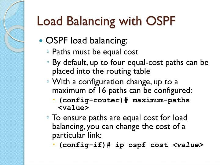 Load Balancing with OSPF