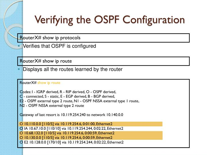 Verifying the OSPF Configuration