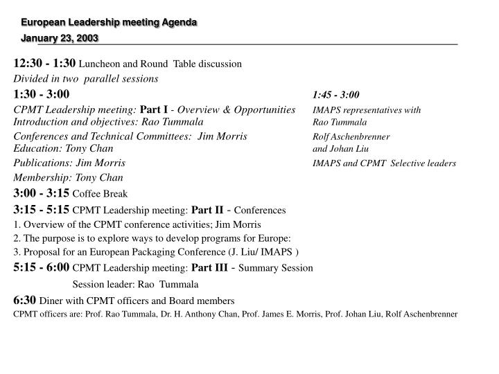 European leadership meeting agenda j anuary 23 2003