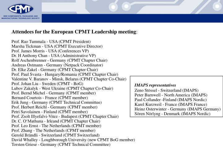 Attendees for the European
