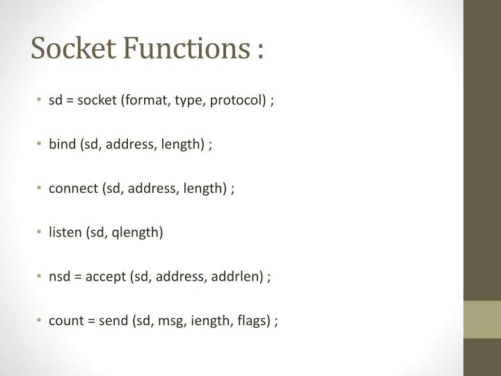 Socket Functions :