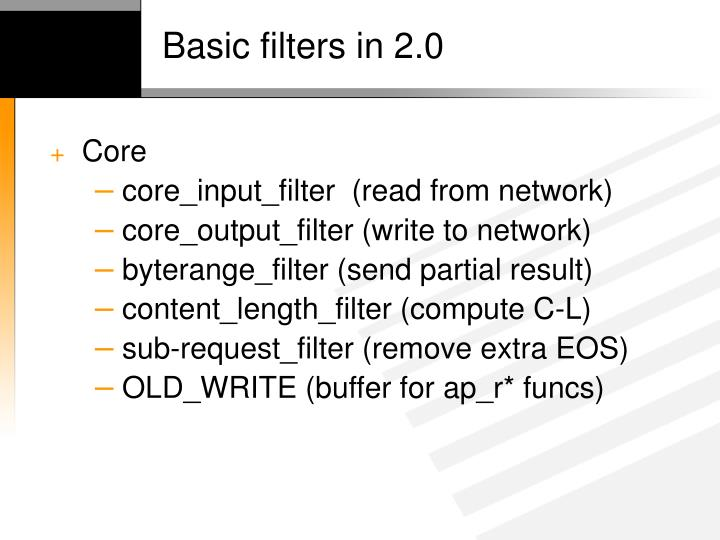 Basic filters in 2 0