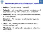 performance indicator selection criteria
