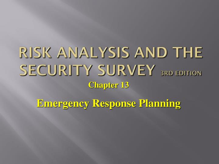 risk analysis and the security survey 3rd edition n.