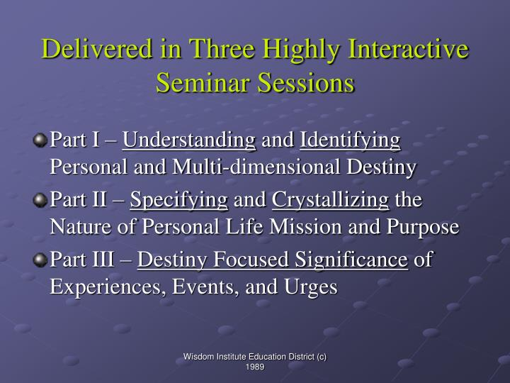 Delivered in three highly interactive seminar sessions
