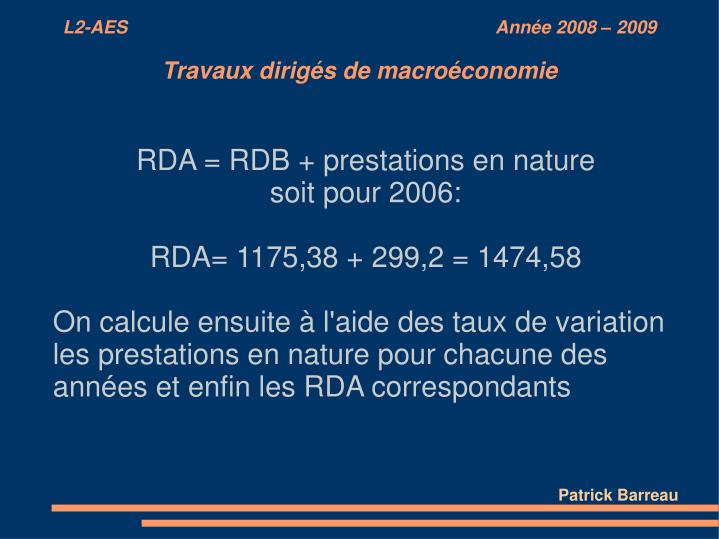 RDA = RDB + prestations en nature