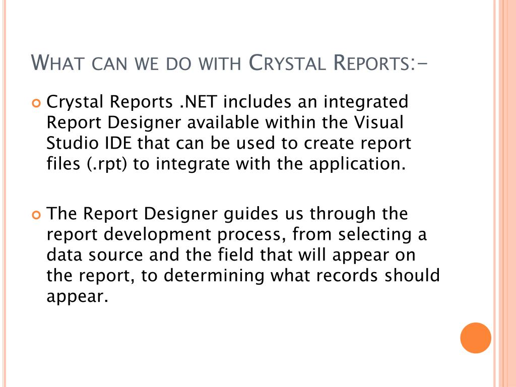 PPT -  NET Crystal Reports PowerPoint Presentation - ID:7087372