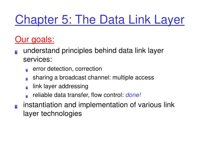 chapter 5 the data link layer n.