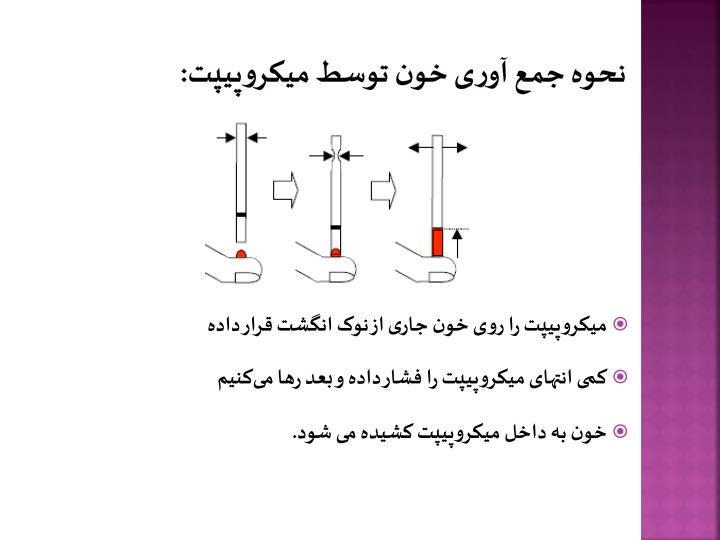 نحوه جمع آوری خون توسط میکروپیپت: