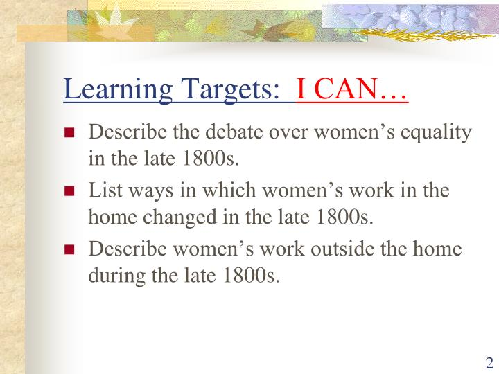 Learning targets i can