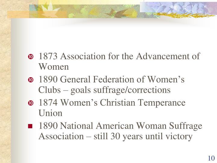 1873 Association for the Advancement of Women