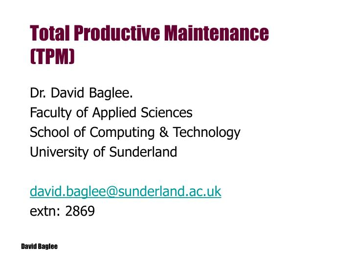 total productive maintenance tpm n.