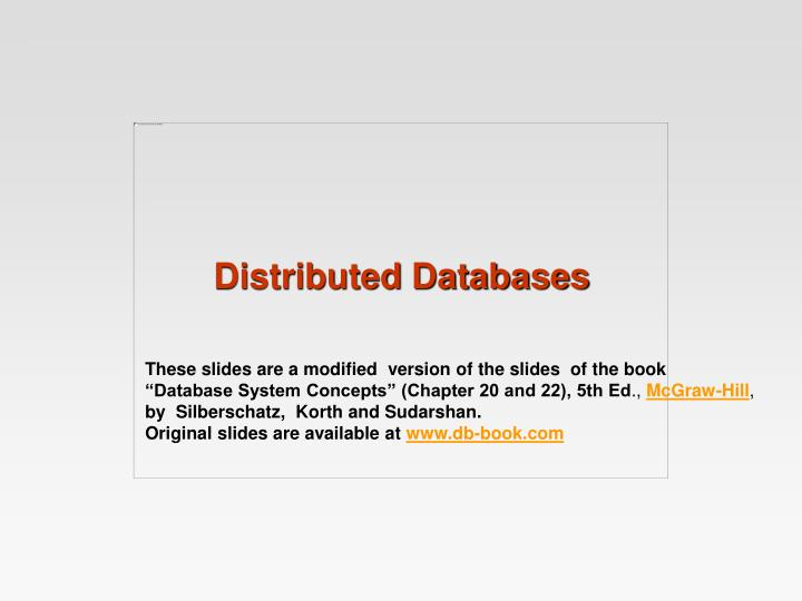 distributed databases n.
