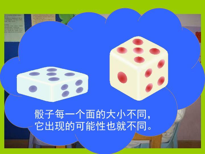 骰子每一个面的大小不同,它出现的可能性也就不同。