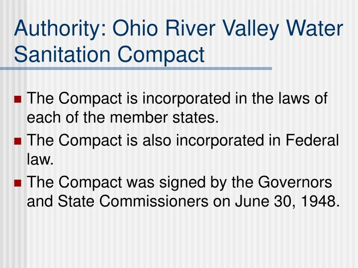 Authority: Ohio River Valley Water Sanitation Compact